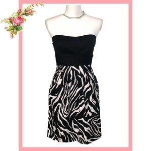 🌸 Snap Black White Zebra Print Strapless Dress